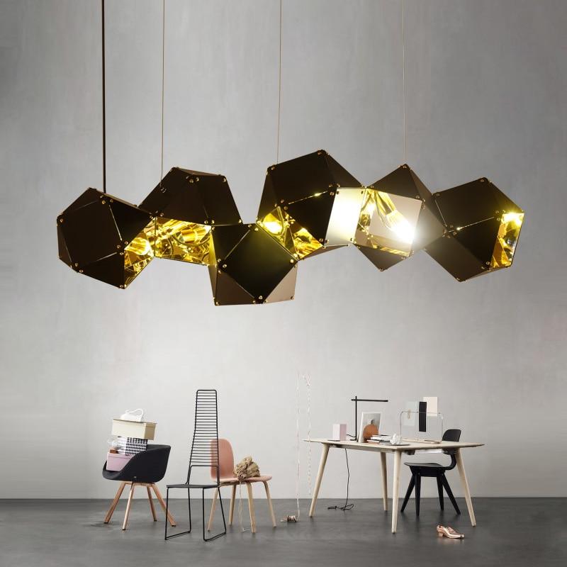 Postmodern Led Pendant Light Designer'S Lighting Restaurant Studio Metal Lamps Dna Creative Luminaire White Black Luster