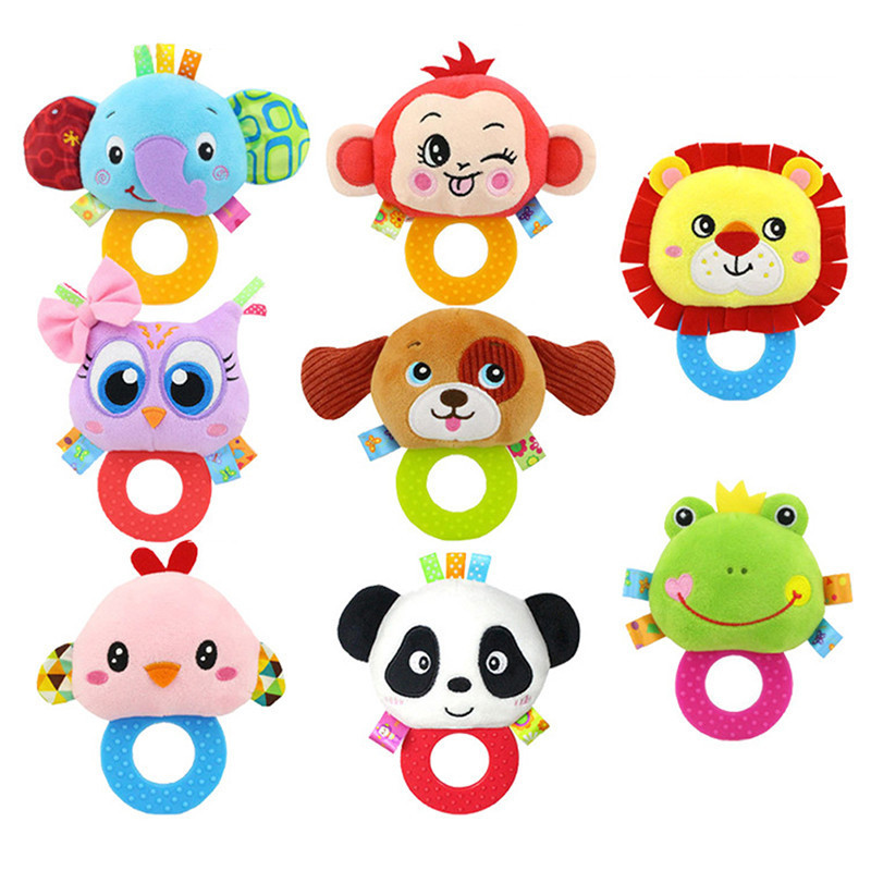 1pc Baby Teethers With Rattle Cartoon Doll Plush Toys Silicone Food Grade Teethers Children Hanging Toys children cartoon animals hanging outdoor basket toys