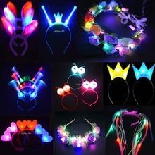 Anak Wanita Cahaya Berkedip Crown Headband Pernikahan Kucing Kelinci Cosplay Konser Cahaya Ulang Tahun Neon Rave LED Pesta Karnaval Mainan