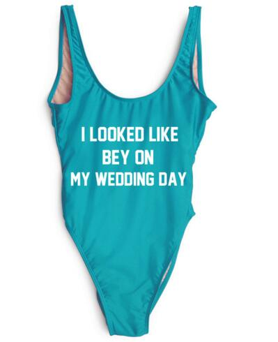 I LOOKED LIKE BEY ON MY WEDDING DAY SWIMSUIT Swimwear Women Blackless Beachwear Bathing Jumpsuit One Piece Bodysuit Costume