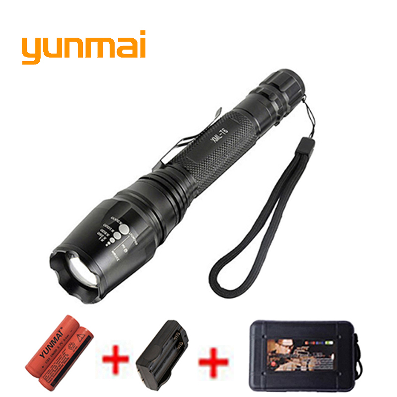 Powerful 5000 lumen XML-T6 Led Flashlight Tactical Portable Lights lantern Waterproof 18650 Rechargeable Battery Hunting light hot sale 3x cree xml t6 led headlamp bike light 5000 lumen 18650 led head light 4x18650 battery pack charger bike rear light