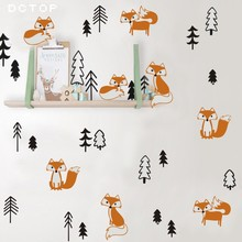 Funny Fox In the Forest Wall Sticker For Kids Rooms Decoration Woodland Animasl Tree Art Decals Murals Nordic Home Decor
