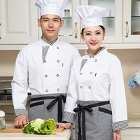 New White Chef Jacket Hotel Restaurant Long Sleeved Overalls Uniform Tooling Pastry Kitchen Work Clothes For