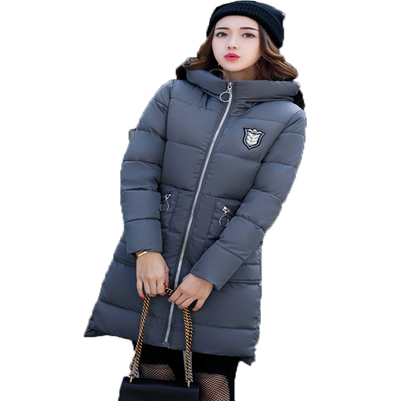 2017 New Women Cotton Padded Jacket Casaco Inverno Winter Coat Medium Long Causal Slim Solid Long Sleeve Hooded Thickening Coat new 2017 solid color hooded winter women basic jacket cotton padded casaco feminino women slim short outwear female coat cm1660