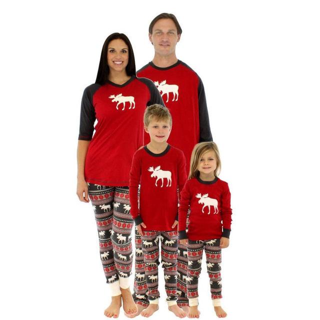 La familia de la navidad ropa de mirada de la familia padre madre del bebé trajes de algodón de manga larga conjunto de la familia pijamas AF-1741