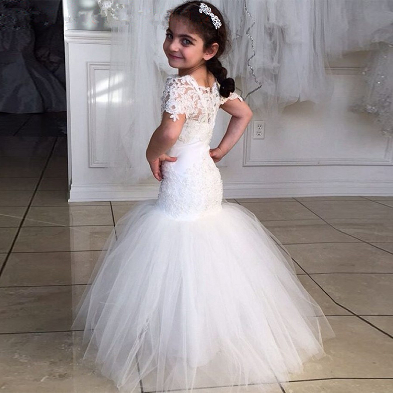 Little Girls Wedding Gowns: Nice Mermaid Long Girls Wedding Dresses Short Sleeves