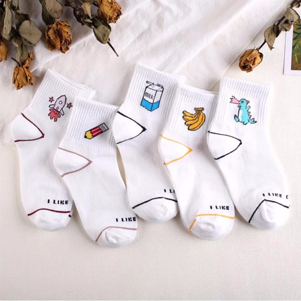 Spring Summer Women Cartoon Cute Banana Dinosaur Rocket Milk Pattern Short Funny   Socks   Female Casual Cotton Ankle   Socks