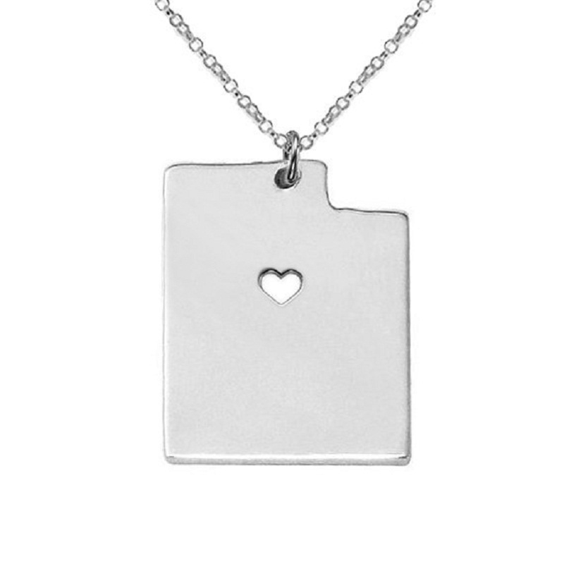 American state necklace Utah map necklace 316L stainless steel heart map pendant necklace 3colors