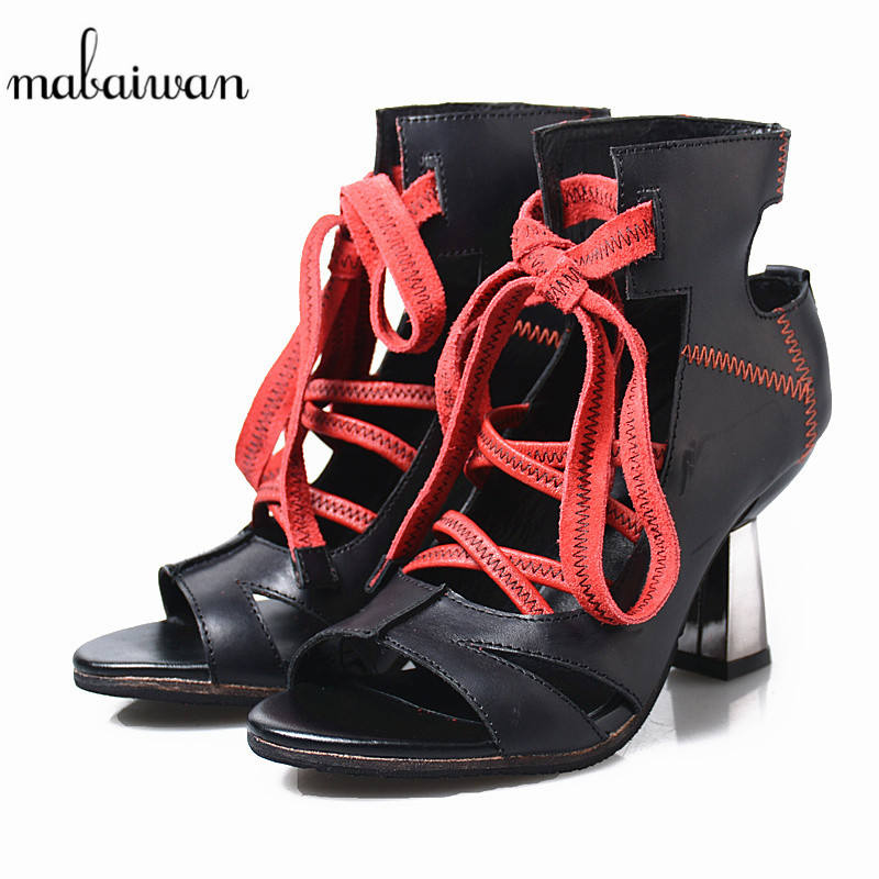 Mabaiwan Black Summer Women Sandals High Heel Genuine Leather Sewing Party Dress Shoes Women Lace Up Ankle Boots Peep Toe Pumps new style women black and white graffiti ankle lace up sandals summer fashion peep toe hollow out high thin heel party shoes