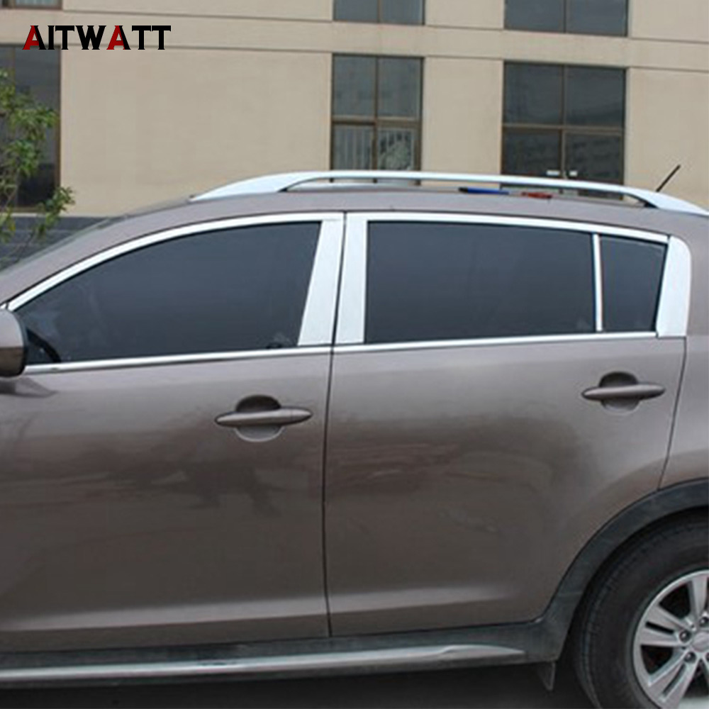 For Kia Sportage R 2010 2011 2012 2013 2014 Stainless Steel Center Pillar B+C Window Trim Mouldings Decoration Car Styling 6Pcs for toyota rav4 2013 2014 stainless steel full window frame trim set with center pillar 22pcs rav 4 stickers