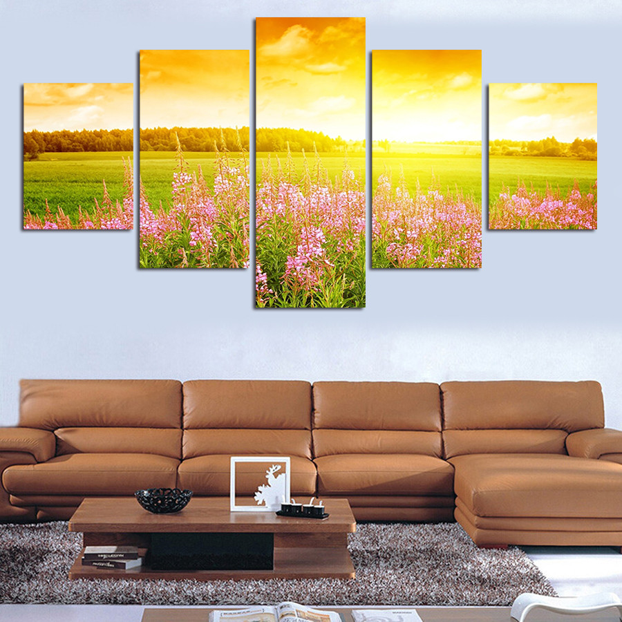 Unframed Flower Under The Sun Landscape Canvas Print 5 PC Wall Art Modern Wall Painting On Canvas Flower Sea Painting