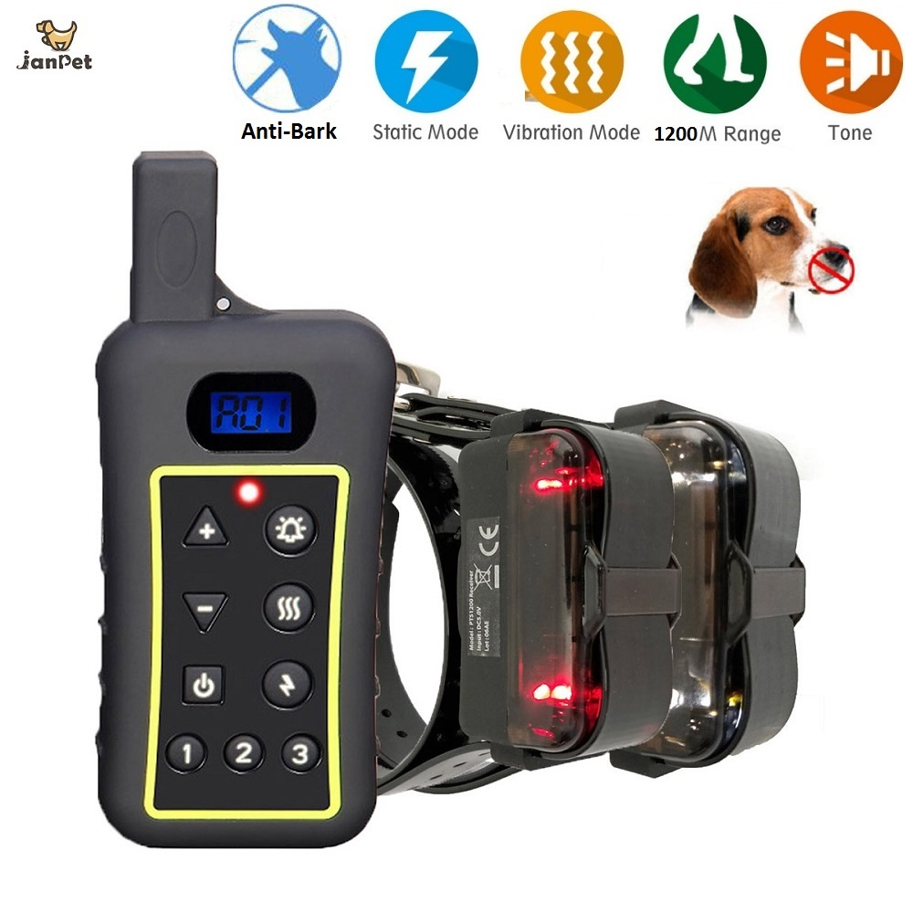 JanPet Dog Training Collar Anti-Bark Collar Waterproof 1200m Remote Controlled Dog Shock Collar for All Dogs Over 10Lbs dog care training collar