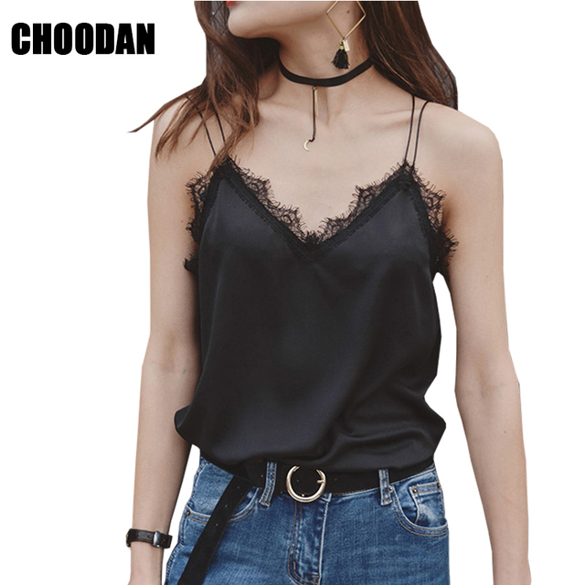 6f709952eb Satin Tank Top Lace Patchwork Spaghetti Strap Women Camis V-neck Summer  Fashion 2018 White Black Shirt Casual Female Clothing