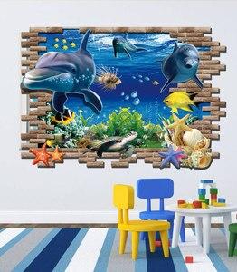 Image 1 - Дельфин черепаха Seastars морской мир 3D креативный настенный стикер для украшения дома кухни дома DIY настенные наклейки синий Декор