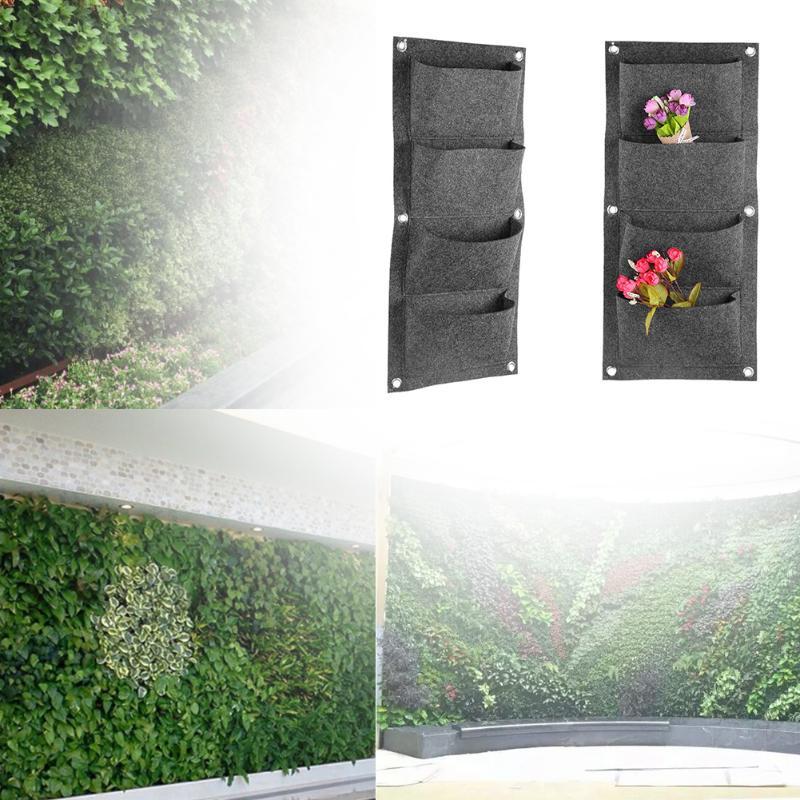 4 Taschen Grau Anlage Tasche Hängenden Vertikalen Wand Garten ...