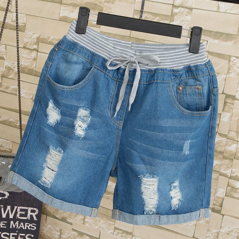 f14d546392 Vaqueros Denim Azul Bolsillos Pantalones Mujer De Puños Las Casual Cintura  Tamaño Mediados Mujeres Cortos Loose ...