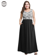 Plus Size Women Dress 2018 Summer Casual O Neck Cotton Lace Patchwork Sleeveless Maxi 4XL vestido