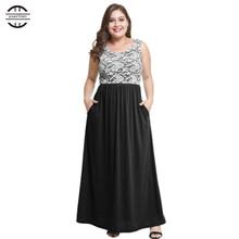 Plus Size Women Dress 2018 Summer Casual O Neck Dress Cotton Lace Patchwork Sleeveless Maxi Dress 4XL Maxi Dress vestido