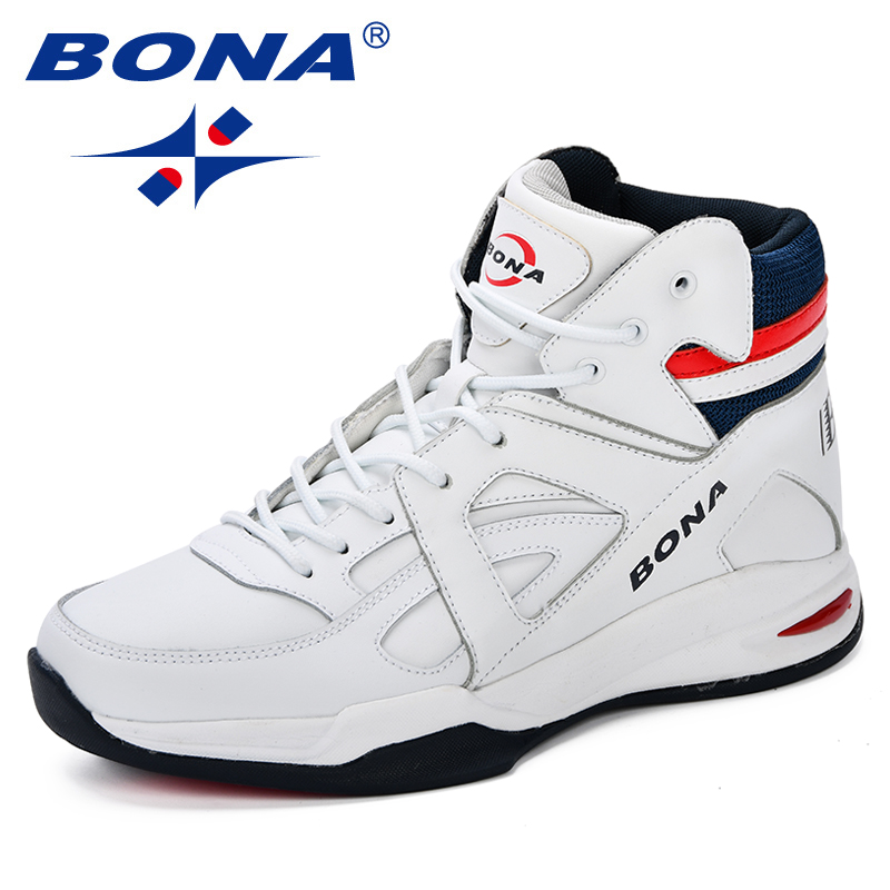 BONA Baskets Homme 2018 Men Basketball Shoes Cow Split Men Shoes Outdoor Flat High Top Sport
