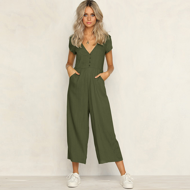 2018 Casual Women Jumpsuit Sexy V Neck Romper Short Sleeve Jumpsuits Wide Leg Pants Vintage Solid Party Overalls Rommers Talever