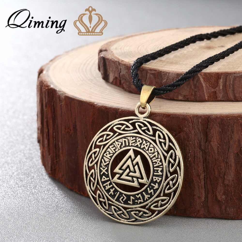 QIMING Celtic Infinity Knots Runes Runic Norse Jewelry Puck Necklace Valknut Vikings Wikinger Silver Charm Pendant Necklace