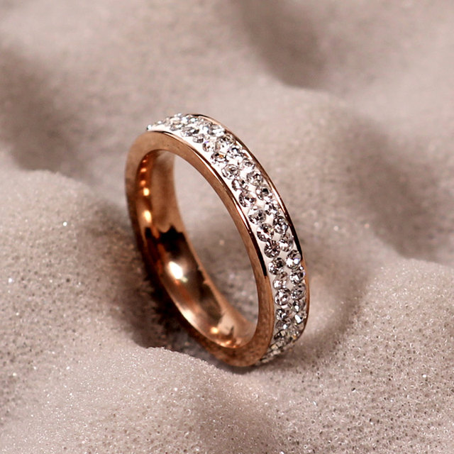 Lbs Clay Material Crystal Rose Gold Ring Double Row Stainless Steel