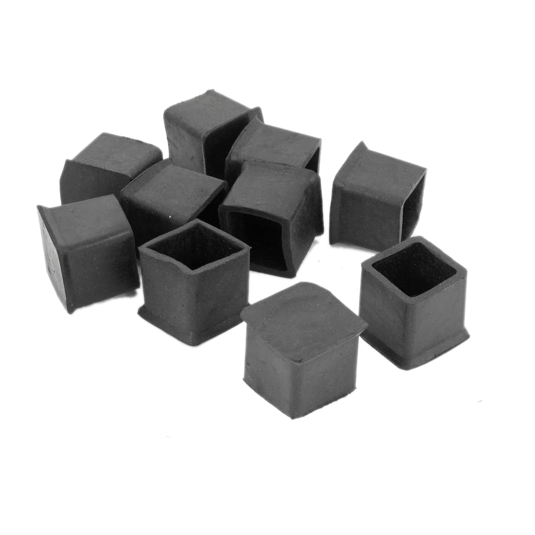 Practical 10 Pcs Black Rubber 25mm x 25mm Furniture Chair Legs Covers Protectors