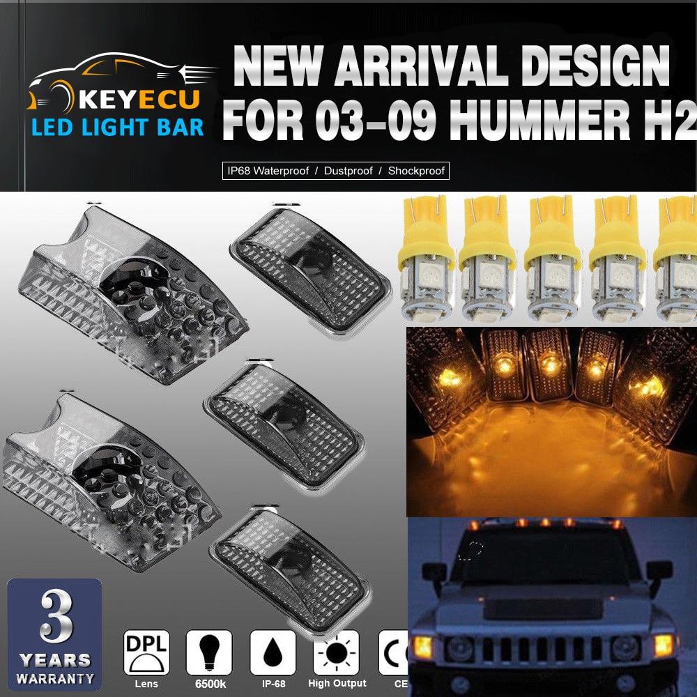 KEYECU 5 pz Nero Affumicato Lens Cab Roof Marcatore Luci Tetto Top Liquidazione Lampada di Ricambio + 5 pz GIALLO T10 Set per 03-09 Hummer H2