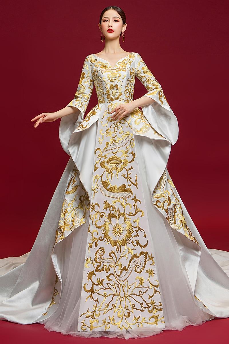 Dubaï luxe Satin robe de soirée 2019 or soie broderie fête Occasion formelle longue robes de grande taille de bal Abiye Abendkleider - 6