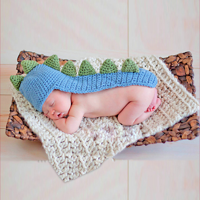 Adorable Dinosaur With Tail And Spikes Crochet Hat Newborn Baby