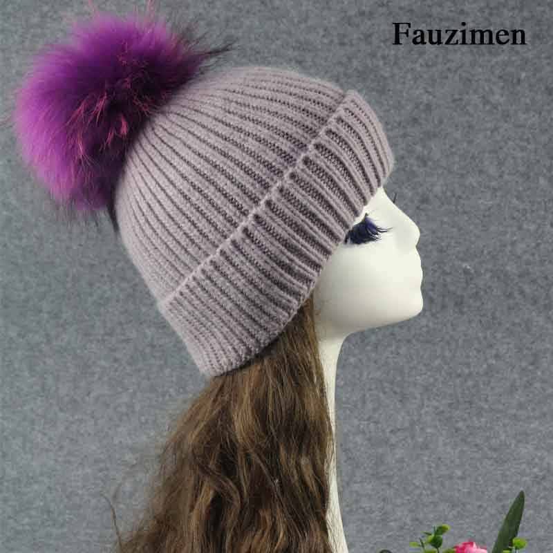 651f65a8f51641 ... Fashion Women Winter Angora Soft Hats Real Raccoon Fur Pom Poms Knitted Caps  Fur Pompom Hats ...