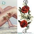 QC-667/20X10 см Долго Красочные Высокое Разрешение Body Art Красная Роза Цветы Круг Дизайн Временные Поддельные Флэш Наклейки татуировки Taty
