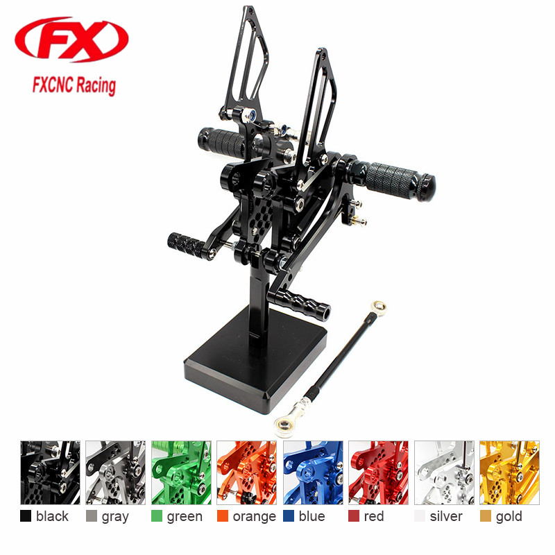FX CNC Aluminum Adjustable Motorcycle Rearsets Rear Set Foot Pegs Pedal Footrest For KAWASAKI Ninja ZX6R ZX636 2009 - 2015 2014