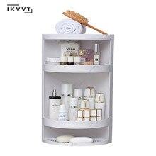 Dönebilen banyo raf plastik üçgen depolama raf duvar emici kozmetik saklama kutusu ücretsiz delme banyo aksesuarları