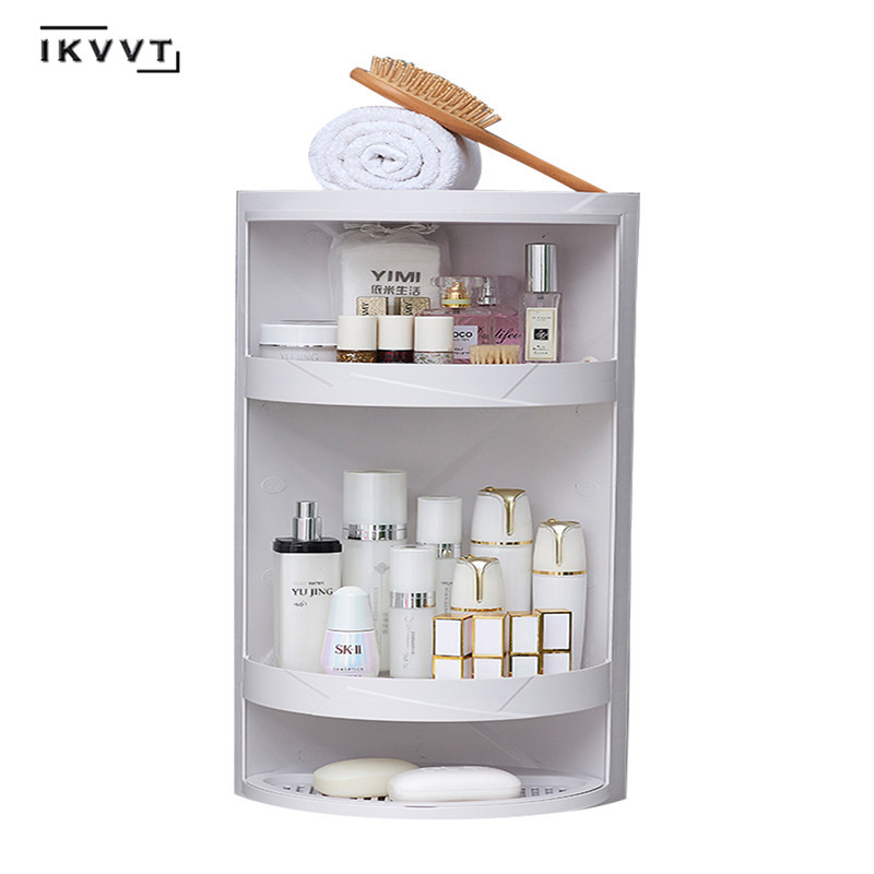 Rotatable Bathroom Shelf  Plastic Triangle Storage Rack Wall-absorbing Cosmetic Storage Box Free Punching Bathroom Accessories