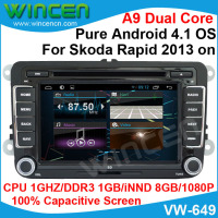 Android 4.1 Car DVD GPS Player for Skoda Rapid 2013 on 1080p Video Support thousands of Android Apps OBD DVR optional
