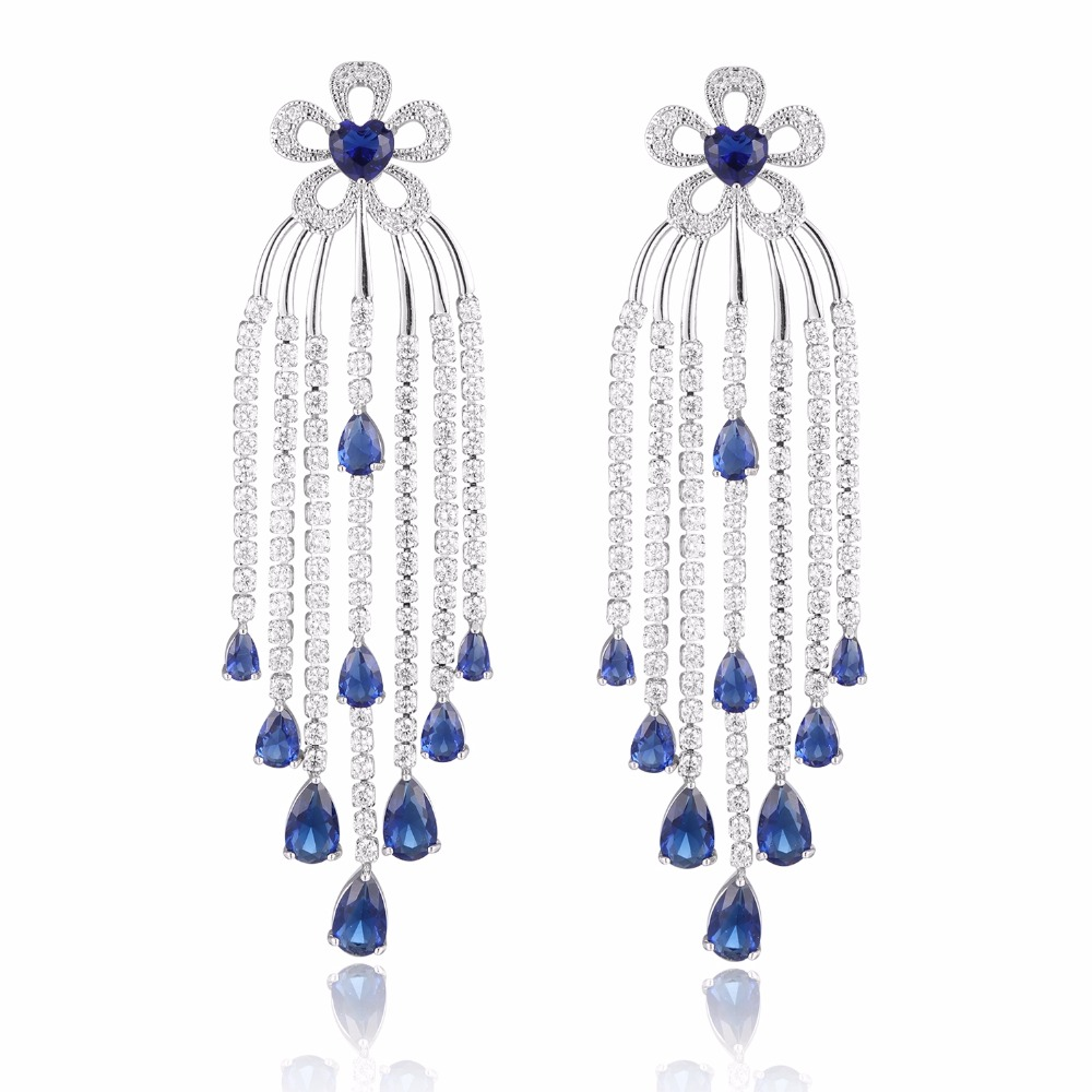 GrayBirds Ethnic Flower Copper With AAA CZ Tassels Earrings For Women Luxury Jewelry Blue And Clear In The Stock XYE027 fashionable ethnic paisley and flower pattern 5cm width blue tie for men