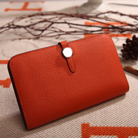 Y017 European and American Top layer cow leather litchi pattern Wallet platinum purse woman long handbag real Leather Zero Purse