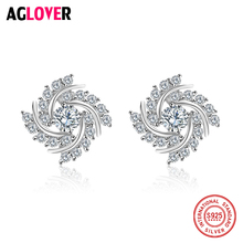 AGLOVER Wholesale Forever Clear CZ Fashion 925 Sterling Silver Circle Push-back Female Simple Stud Earrings Fine Jewelry
