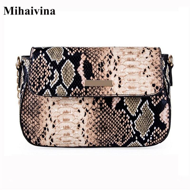79cd63e85624 Mihaivina Python сумка через плечо для женщин модная Змея искусственная кожа  сумки на плечо женская цепь