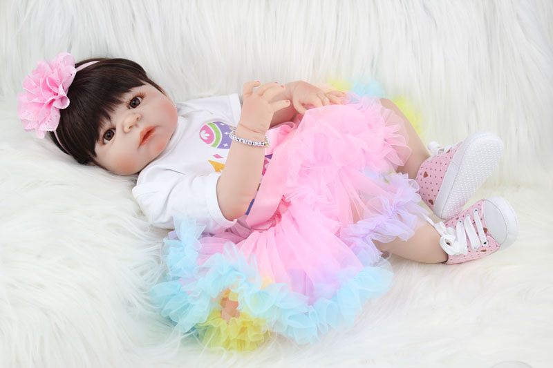55 cm Silicone Pieno Bebe Reborn Girl Doll 22