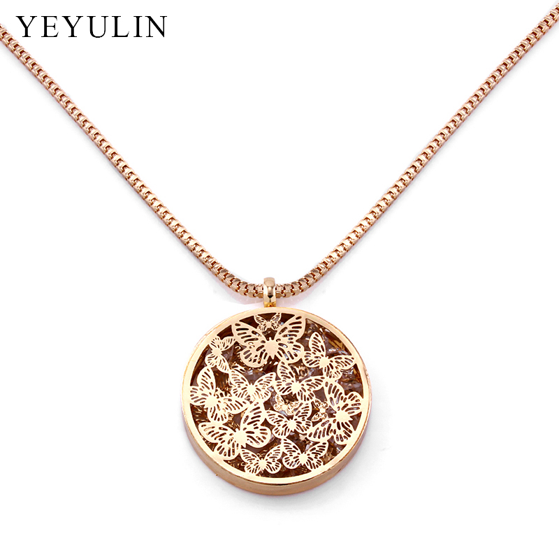 Exquisite Hollow Butterfly Pattern Round Oval Locket Pendant Necklace High Quality Copper Material Necklace Jewelry For Female locket