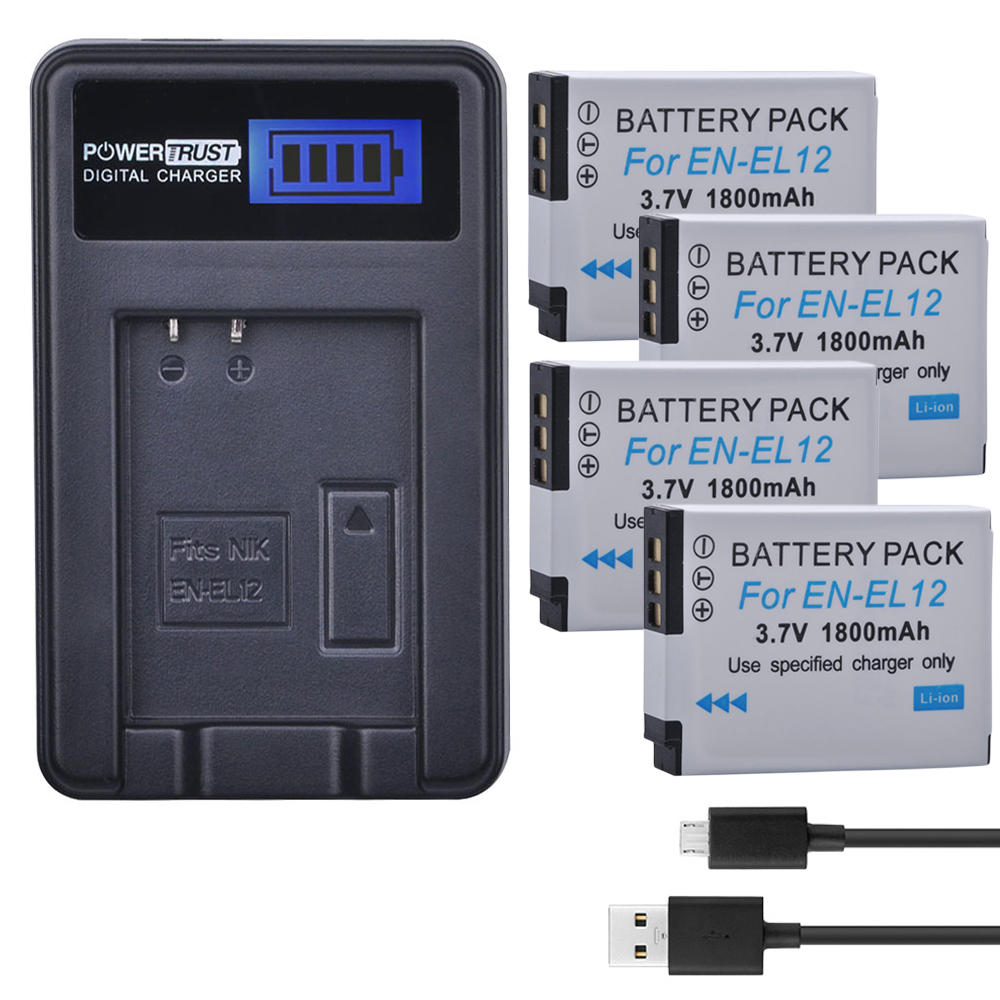 4Pcs EN-EL12 ENEL12 EN EL12 Camera Battery + LCD USB Charger for Nikon Coolpix S9900 S9700 AW120 S9500 AW110 S70 S9600