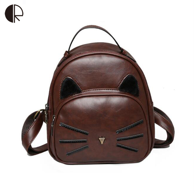 b394ca346461 2018 Women Mini Backpack Cute Cat Bags Ladies Retro Preppy Style Backpacks  Girls Creative School Bag Travel Bag Black Gray Brown
