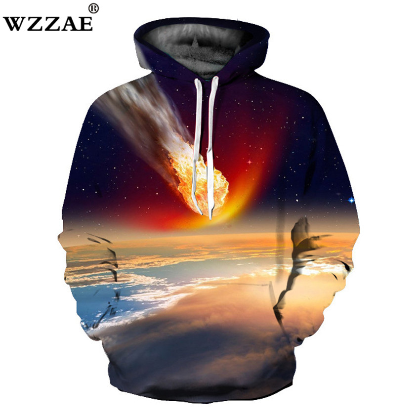 2018 Spring 3D Hoodies Men/Women Galaxy Print Sweatshirt Flame Earth Sportswear Tracksui ...