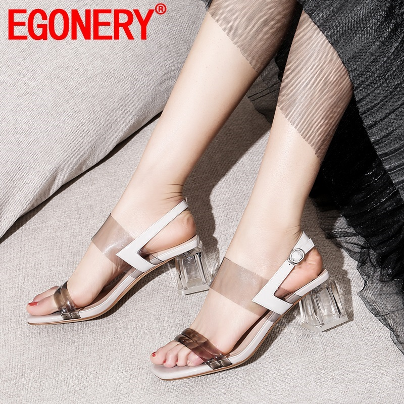 EGONERY hot sale woman shoes summer new fashion high square heels open toe woman sandals outside