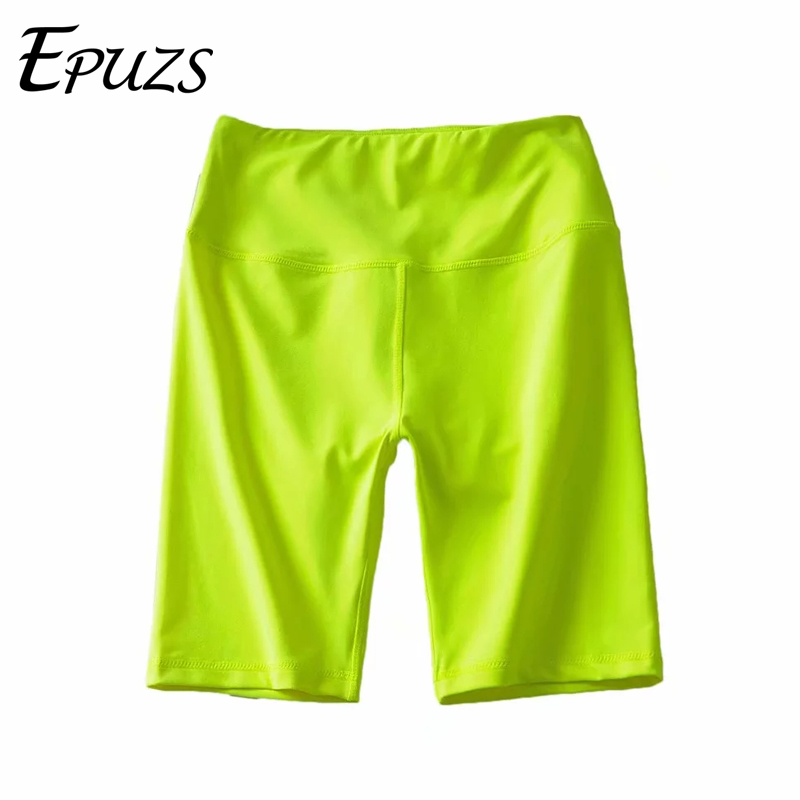 Green Black Neon Biker Shorts Womens Elastic High Waist Shorts Summer Shorts Streetwear Sweatpants Jogger Punk Korean Shorts