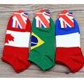 La Union Jack Japonés EE. UU. Italia Canadá Francia Copa Del Mundo Patrón de la bandera Del Barco Calcetines Para Hombres Mujeres Delgadas Brasil Olímpico calcetines