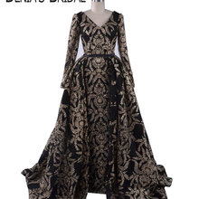 DENIA'S BRIDAL 2018 Black Gold Glitter Evening Dresses