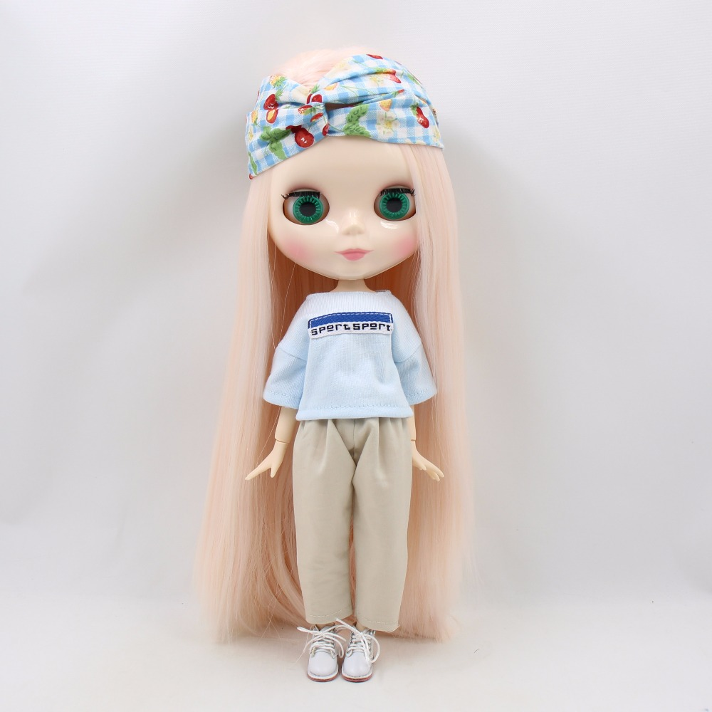 Neo Blythe Doll Oversize White Shirt & Pants With Hairband & Handbag 1